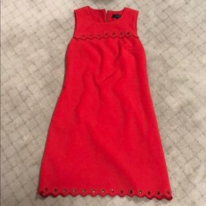 J crew red dress with grommet and scallop detail